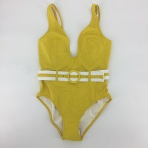 Anthropologie Solid and Striped Mustard Swimsuit